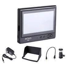 Movo LVM7 LCD HDMI On-Camera Field Video Monitor w/Hood/AC Adapter/Battery Plate