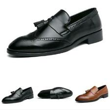 Mens Tassels Oxfords Pointy Toe Work Dress Formal Business Faux Leather Shoes L