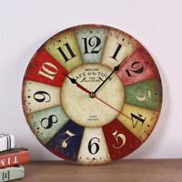 Vintage Chic Wooden Shabby Large Wall Clock Art Round Oversized Digital-uk