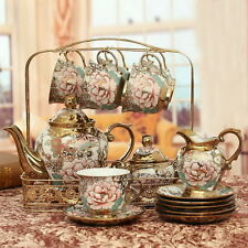 Porcelain Tea Set Teapot Sugar Bowl Creamer Cups and Saucers Metal Holder 16 pcs