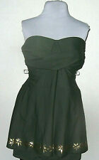 Swimsuit Bathing Suit 22W Bandeau 1 Pc Olive Green Bra Cup Skirt Gold Design NWT