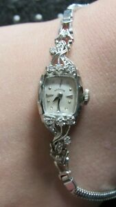 Ladies Hamilton 14k White Gold & Diamond TIPS Encrusted Watch Runs 757 22J .5-.7