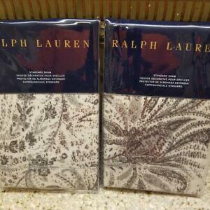 "New Ralph Lauren 2 Standard Shams- Dover Street GWENDOLYN 20X26"""