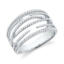14K White Gold Diamond Open Ring Womens Wide Right Hand Multi Band Crossover 7
