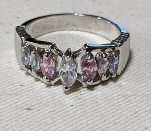 18k White Gold Plated Sterling Silver Pink & White Stones Ring sz7 .R67