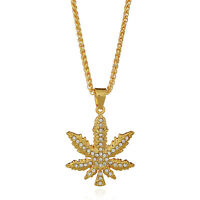 Gold Plated Hip Hop Iced Out Marijuana Weed Leaf Pot Pendant Necklace 29'' Chain