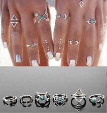 6Pcs Hot Popular Turquoise Arrow Moon Statement Midi Rings Women Jewelry Gifts