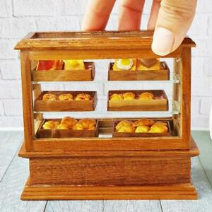 Dollhouse Miniatures Bakery Wooden Wood Cabinet Showcase Pastries Shop Decor Set