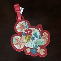 Disney Parks Red Luggage Tag Aulani Resort Minnie Mouse Hawaiian Floral