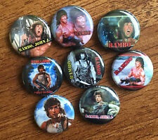 """Rambo 1"""" pinback buttons - Stallone, Action, 80's movies"""