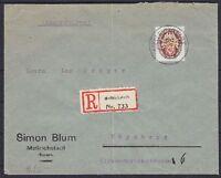 DR Mi Nr. 434 EF R-Brief Mellrichstadt - Nürnberg mit toller Vignette 1929