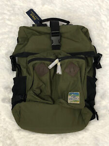 Polo Ralph Lauren Mountain Roll-Top Backpack Bag Olive Green Brand New