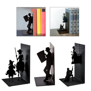 Metal Bookends Iron Home School Book Ends Decor 3D Books Display Organizer