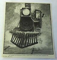 1882 magazine engraving~ PILOT TRAIN CAR, Danger Ahead! Torpedo Signal
