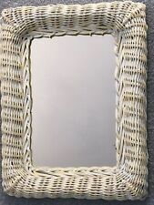 Vintage Shabby Chic Rectangular White Wicker Wall Mirror
