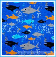 BonEful Fabric FQ Cotton Quilt Shark Ocean Beach FISH Blue Orange Dot B&W BOY US