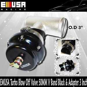 "EMUSA 50MM Turbo Blow Off Valve BOV V Band Black + 3"" Blow Off Valve Adapter"