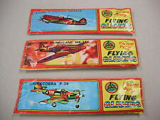 3 SEALED IN PACKAGE `BALSA`LIKE FLYING GLIDER AIRCRAFT! P-39, HURRICANE & HAYATE