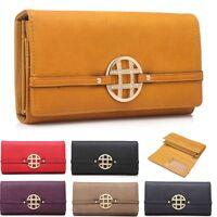Ladies Faux Leather Purse Gold Emblem Wallet Clutch Bag Handbag Boxed 601-156