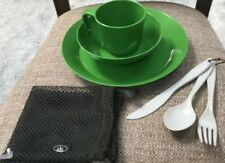 GSI OUTDOORS Camping 1-Person Table Set ~ Green Plate Bowl Cup Utensils ~ Nice