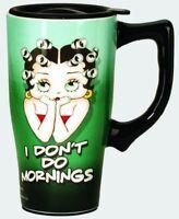 Betty Boop Ceramic Travel Mug: I Don't Do Mornings