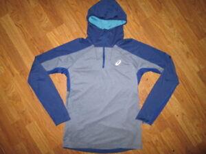 Mens ASICS athletic hooded quarter zip running shirt sz M Md Med