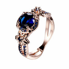 Classic Blue Sapphire Wedding Ring 10KT Rose Gold Filled Band Size #10