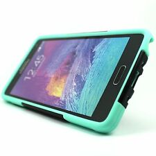 For Samsung Galaxy Note 4 Black Teal Green Y Stand Hybrid Hard Soft Cover Case