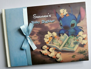 Personalised Lilo and Stitch boys baby shower guest book, album, gift for boy