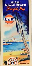 VINTAGE SHELL 1969 GULF OIL MIAMI / MIAMI BEACH FOLDED MAP & DIRECTORY,