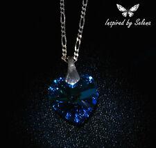 SWAROVSKI Crystal Austrian Bermuda Blue Necklace Sterling Silver Wedding Bridal