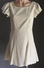 40's Vibe  Lovely FORCAST Cream & Black Polka Dot Open Back A-Line Dress Size 10