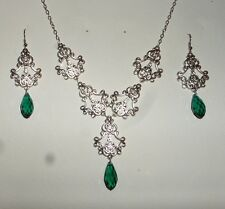 FILIGREE VICTORIAN STYLE SILVER PL SEA GREEN BRIOLETTE DROP NECKLACE EARRING SET