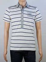 NEW Duck & Cover Mens Size S White Blue Stripe Polo Shirt Top