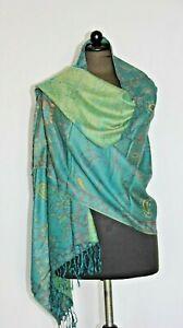 Schal Stola Pashmina Wolle Grün- Gelb Geblümt Handarbeit-Indien