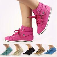 NEW LADIES FLAT HI HIGH TOP ANKLE BOOTS LACE UP TRAINERS SEEAKER SHOE SIZE 3-8