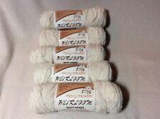 NEW 5 Skeins 2 oz ea Mary Maxim Heirloom Sport Yarn~06 Ivory Off White~Blend
