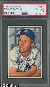 1952 Bowman #101 Mickey Mantle New York Yankees HOF PSA 8