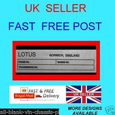 LOTUS NORWICH long ESPRIT EUROPA ELAN CAR CHASSIS ALL-BLANK-VIN-CHASSIS-PLATES