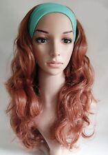 W42 Light Auburn Ginger Mix 3/4 Hair Fall Long Curly Half Wig Clip In Hair Piece