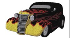 Hot Rod With Flames Embroidered Patch H012P Chevy Ford Chevrolet Rockabilly