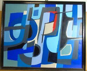 "Guy Leclerc-Gayrau """"Composition bleu"""" Ölgemälde, abstrakt"