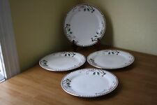 HOME ESSENTIALS TARTAN RIBBON 4 DINNER PLATES HOLLY BERRIES GOLD RIM NEW