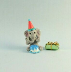OOAK~Elephant~Birthday~Party Hat~Cake~Art Doll~Baby Toy~Dollhouse~Cheryl Brown