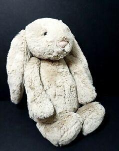 "Jellycat Bunny Light Brown Rabbit Soft Plush Baby Bean Bottom 11"" Long Ears"