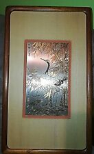 ZHANG SHOU-CHENG GENUINE 24KT GOLD,SILVER & COPPER CHINESE CRANE ETCHING COA
