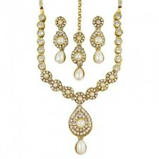 Gold Tone White Pearl Clear Rhinestone Studded Earring Necklace Jewelry Set