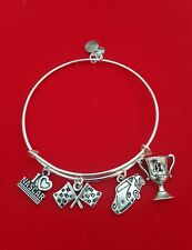 "Silver ""NASCAR Fan"" Themed Charm Bracelet (car racing)"