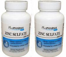 PlusPharma Zinc Sulfate 220 mg Capsules 100 ct ( 2 pack ) PHARMACY FRESH!