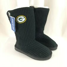 NFL Green Bay Packers Womens Knit Boots Slip On Faux Fur Trim Black Size 5-6